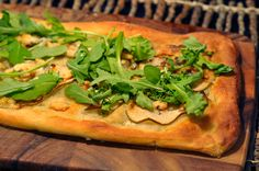 Best pizza ever!!! Artisanal pizza with Arugula, Pear, Bleu cheese, Mascarpone cheese, and Truffle Honey.