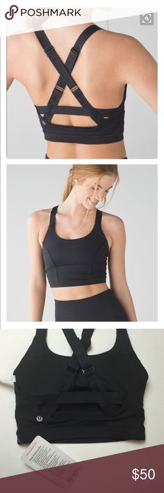 NWT lululemon black sport bra size 4 Pure practice bra black solid color high coverage with adjustable bonded straps medium support for C,D cup size 4 new with tags lululemon athletica Intimates & Sleepwear Bras