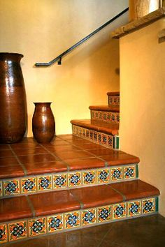 Stair Coping , Classic- width, Mexican Saltillo Floor Paver Basement basement in spanish Spanish Style Homes, Spanish House, Tile Stairs, Basement Stairs, Mexican Home Decor, Spanish Tile, Mexican Spanish, Spanish Colonial, Hacienda Style