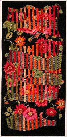 strip quilt - abstract flowers