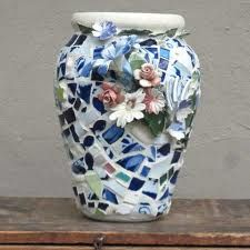 Mosaic vase - and an example of what to do with those china flowers from the Mother-in-Common-Law!