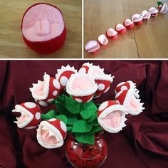 A DIY tutorial on how to make these awesome Piranha Plant flowers using felt.
