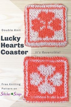 Create a reversible, design with double knitting! With two layers of fabric, this double knit coaster is thick and absorbent. Make a whole set to keep or as a gift! Potholder Patterns, Dishcloth Knitting Patterns, Knit Dishcloth, Potholders, Knitting For Kids, Free Knitting, Knitting Projects, Knitting Ideas, Free Crochet