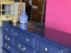 Faux Bamboo Dresser Lacquered in Old Navy Ready to ship image 6 Lacquer Furniture, Dining Furniture, Vintage Furniture, Painting Old Furniture, Furniture Making, Painted Furniture, Navy Paint, Lacquer Paint, High Gloss Paint