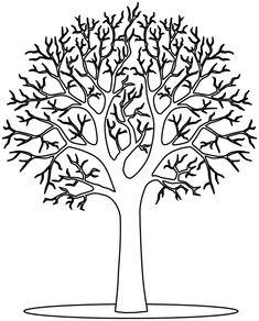 Un arbre sans feuilles à colorier