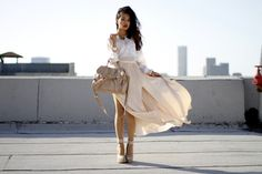 Caravan Gold Collar / Club Monaco Silk Blouse / Club Monaco Side Split Skirt / Max Azria Wedges