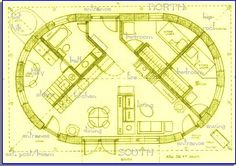 a straw bale house plan,836 sq. ft. Also a very cool layout. Maybe the best of both worlds- rectangle and round.