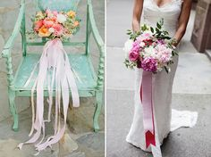 Photo: Anna Delores Photography  	Decorating with ribbon is a simple, inexpensive way to make your wedding day beautiful. Here are some great ways to use ribbon in all aspects of your wedding decor, from the aisle to the dance floor!  	1. Tree Decor  	  	Photos (from left): KT Merry, Matt Edge  	Tie colorful ribbon streamers onto tree branches and let them flutter in the breeze!  	2. Ribbon Wands  	  	Photos (from left): Caroline Joy, Abi Q Photography  	Create fun, ...