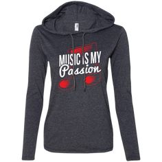 A cute music long sleeve t-shirt hoodie that all teen girls and juniors will want. It's the music gift every woman who loves music needs. Look great wearing it to music lessons, rehearsals, weekend gigs or for every day casual wear. Grab yours here: https://musicreadingsavantstore.com/products/music-is-my-passion-ladies-long-sleeve-t-shirt-hoodie | hoodies for teens