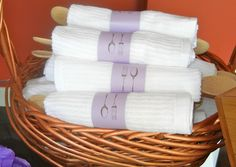 Bridal Shower favors // Wooden spoon wrapped in kitchen towel.