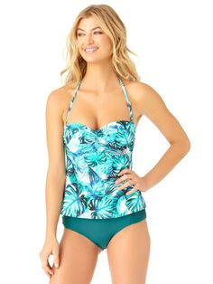 5267ac8cb7708 Catalina Women s Leaf Twist Bandeau Tankini Swim Top