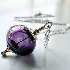 Lampwork Hollow Necklace, Amethyst Purple Lampwork Glass Sterling Silver Necklace - Blackberry