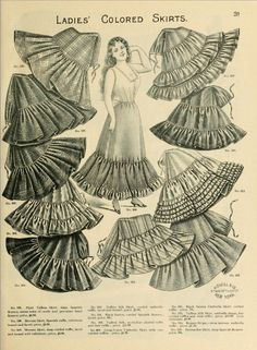 1898 Vintage Fashion – H.O'Neills Spring & Summer Catalogue Page 31 – Victorian Ladies Skirts 1898 Vintage Fashion – H.O'Neills Spring & Summer Catalogue Page 31 – Victorian Ladies Skirts 1890s Fashion, Edwardian Fashion, Vintage Fashion, Gothic Fashion, Moda Vintage, Vintage Mode, Vintage Hats, Historical Costume, Historical Clothing