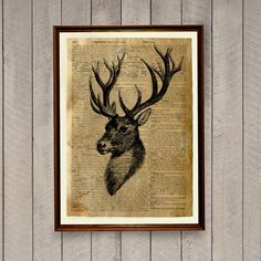 Deer poster for home decoration. Lovely animal illustration. 8.3 x 11.7 inches (A4) stag print. Cabin decor printed on a handmade antique dictionary page. Please see all the photos for more important information about this item.  This item is made to order. Comes without frame. Dictionary text will be random on final item.  BUY 1 GET 1 FREE code is BOGOF7 (more info in photos)  Please read our policies: https://www.etsy.com/shop/wordantique/policy  This item comes from a smoke and animal…