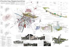 131212_Clustering opportunities_FINAL A0_Tom P_Jack W_low res Site Analysis Architecture, Architecture Portfolio, Landscape Architecture, Architecture Diagrams, Presentation Techniques, Presentation Boards, Urban Design Diagram, Urban Road, Urban Analysis