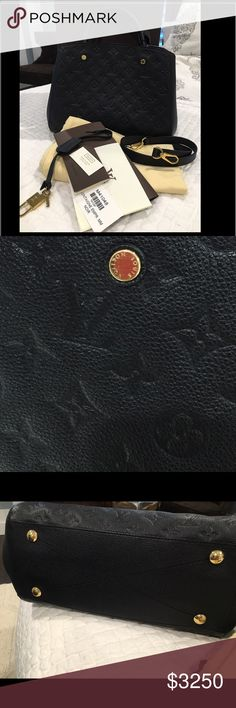 Louis Vuitton Montaigne Empriente MM Noir This is a gorgeous authentic Louis Vuitton Montaigne MM in Noir Empriente.  There are minor surface scratches on the gold hardware, but it's otherwise in immaculate and very clean condition.  Only 1 owner.  Comes with the original strap, keys/lock, booklet/cards, dust bag, box and receipt.  Purchased at Louis Vuitton in Los Angeles.  For additional photos and info, email me at BlessedWithStyle@yahoo.com Louis Vuitton Bags Shoulder Bags