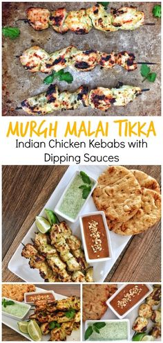 Murgh Malai Tikka Kebabs Indian spiced chicken kebabs inspired by my recent trip to India! It's paired with cool mint chutney, creamy peanut sauce, toasted naan and it's perfect for grilling season!