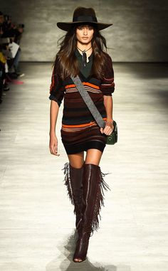 Rebecca Minkoff Fall 2015: I would definitely wear this ... if I had the legs for these boots!