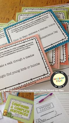 Build sentence fluency by having students write compound and complex sentences with these spring-themed task cards.  Each card provides two clauses, and students must combine the clauses with a coordinate conjunction or subordinating conjunction to write a compound or complex sentence. -- from Mixed-Up Files