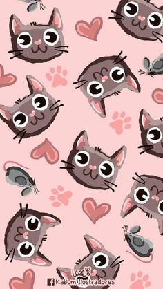 Wallpaper Cute Cat Cartoon Ideas For 2019 Cat Wallpaper, Kawaii Wallpaper, Animal Wallpaper, Trendy Wallpaper, Stoff Design, Cute Cartoon Wallpapers, Quito, Cat Drawing, Crazy Cats