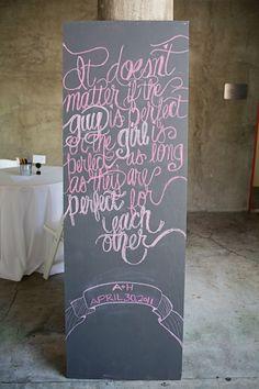 Cool chalkboard + writing
