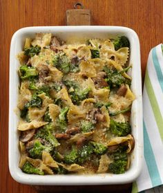 healthy dinner: cheesy baked pasta with vegetables