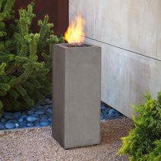 This outdoor fire column adds a tasteful effect to your patio or garden. Using a propane burner, it generates up to 10,000 BTU's.