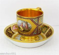 ROYAL VIENNA PORCELAIN GOLD WASHED CUP & SAUCER EARLY 19th CENTURY:
