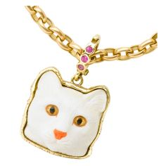 White Cocholong Cat Pendant | From a unique collection of vintage brooches at http://www.1stdibs.com/jewelry/brooches/brooches/