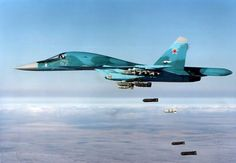 BEIRUT, LEBANON P.) - The Russian Air Force unleashed a heavy attack across northwestern Syria on Wednesday. Led by their Sukhoi jets, the Russian Su 34 Fullback, Russian Fighter Jets, Russian Military Aircraft, Russian Jet, Russian Air Force, Air Fighter, Sukhoi, Military Jets, Fighter Aircraft