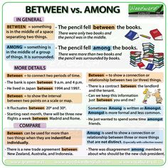 Among – What is the difference? Between vs. Among - What is the difference?Between vs. Among - What is the difference? English Grammar Tenses, Teaching English Grammar, English Grammar Worksheets, Grammar And Vocabulary, Grammar Lessons, English Language Learning, English Writing, English Study, English Vocabulary