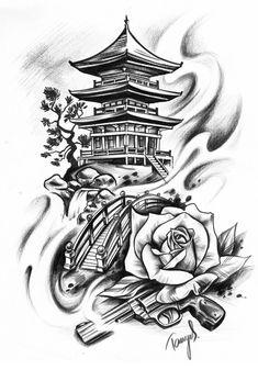 Japanisches Motiv Japan Haus Tempel Tattoo Design Grafik - Kittens Tutorial and Ideas Buddha Tattoo Design, Buddha Tattoos, Japan Tattoo Design, Geisha Tattoo Design, Geisha Tattoos, Tattoo Design Drawings, Japan Design, Design Design, Design Ideas