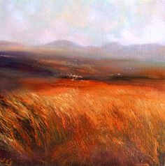 Only Forty Shades of Green?, John O'Grady - An Irish landscape painting of the bogland with deep orange grasses