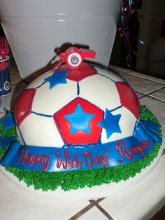 One of my favorite themed cakes ever.  This is a Chivas soccer ball cake