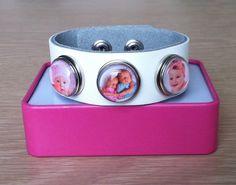Mooie drukknoop armband leer met je eigen foto erin prijs per armband 14,95 te koop bij handmadebyveertje.marktplaza.nl