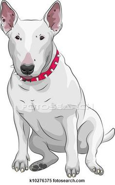 Stock Illustration of vector cartoon Bull Terrier Dog breed sittong