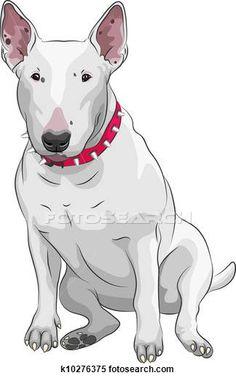 Stock Illustration of vector cartoon Bull Terrier Dog breed sittong