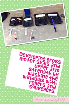 Developing gross motor skills and upper arm strength by washing the windows with rollers and squeegees. EYFS