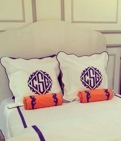 Purple over size monograms from Leontine Linens