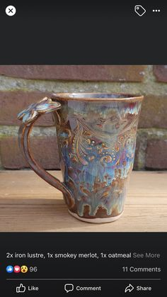 Glazes For Pottery, Ceramic Pottery, Amaco Glazes, Clay Mugs, Play Clay, Luster, Coffee Mugs, Iron, Sculpture