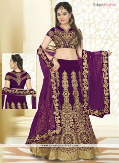 Invaluable Purple Velvet A Line Lehenga Choli
