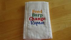 This burp cloth is made from a quality prefolded birdseye diaper. It measures approximately 17 x It has been prewashed before stitching to minimize shrinking. This burp cloth was made in a smoke free environment. Best Embroidery Machine, Machine Embroidery Projects, Shirt Embroidery, Embroidery Hoop Art, Embroidery Stitches, Embroidery Patterns, Butterfly Embroidery, Needlepoint Stitches, Learn Embroidery