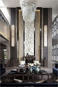 Paying attention to the details of the design is essential in creating a luxury living room interior. Luxury Homes Interior, Luxury Home Decor, Modern Interior Design, Interior Design Living Room, Living Room Designs, Living Rooms, Palaces, High Ceiling Living Room, Luxury Living