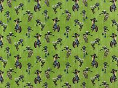 Baumwolljersey Shaun das Schaf Motorcycle, grün