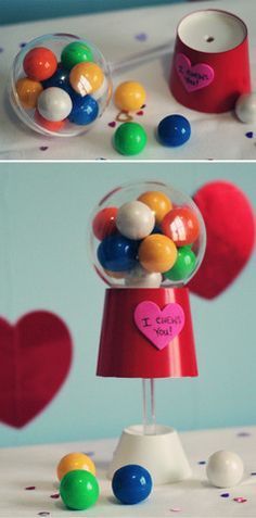 """I Chews You! Super-adorbs Valentine's candy idea: gumballs + a clear Party Lolli container + a red paper cup trimmed to look like a gumball machine """"base"""". Nom nom!"""