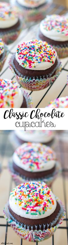 hese rich, homemade chocolate cupcakes are topped with sweet, homemade vanilla frosting and brightly colored sprinkles!