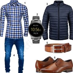 Kariertes Hemd, Steppjacke und Bluejeans (m0576) #outfit #style #fashion #ootd #männer #herren #outfit2017 #outfit #style #fashion #menswear #mensfashion #inspiration #shirt #cloth #clothing #styling #sneaker #menstyle #inspiration