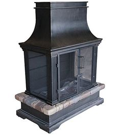 Allen Roth Stone And Bronze Outdoor Wood Fireplace Item
