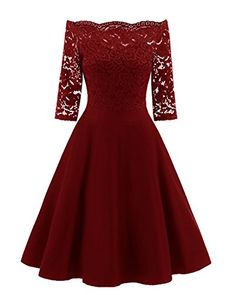 b7adac8ba13 Bright Deer Robe Bateau de Soirée Courte Cocktail Florale Dentelle Manches  3 4 Femme Vintage Robe de Bal Sexy Short Prom Party Dress  Amazon.fr   Vêtements ...