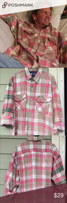 """Sun Kissed"" Vintage Flannel Shirt This 1-Of-A-Kind, recycled Flannel from ""L&D"" is size XL and makes the perfect gift for him, her or you! Casually worn with jeans or dressed up with khaki pants - the splash of green on the right sleeve and collar - makes this shirt truly unique!! Tops Button Down Shirts"